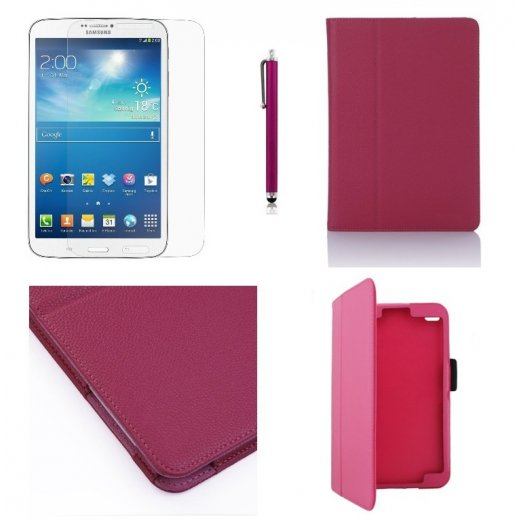 Multi-Function Leather Stand Case for Samsung Galaxy Tab 3 8.0 T3100 Pink