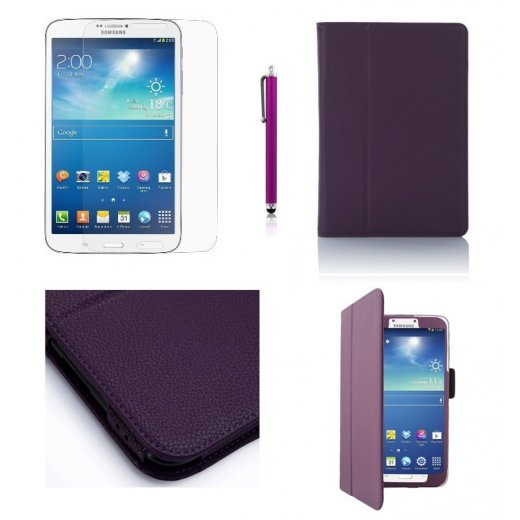 Multi-Function Leather Stand Case for Samsung Galaxy Tab 3 8.0 T3100 Purple