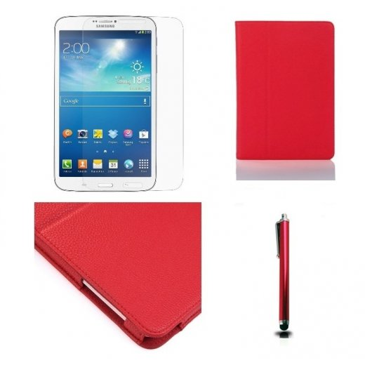 Multi-Function Leather Stand Case for Samsung Galaxy Tab 3 8.0 T3100 Red