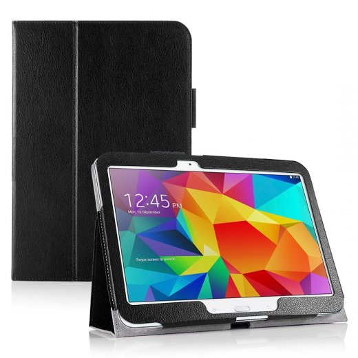 Multi-Function Leather Stand Case for Samsung Galaxy Tab 4 10.1 Black