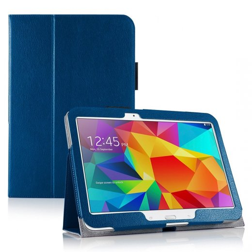 Multi-Function Leather Stand Case for Samsung Galaxy Tab 4 10.1 Blue