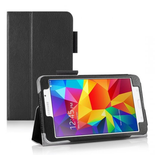Multi-Function Leather Stand Case for Samsung Galaxy Tab 4 7.0 Black
