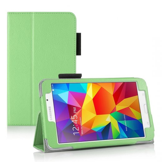 Multi-Function Leather Stand Case for Samsung Galaxy Tab 4 7.0 Green