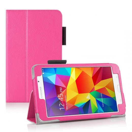 Multi-Function Leather Stand Case for Samsung Galaxy Tab 4 7.0 Pink