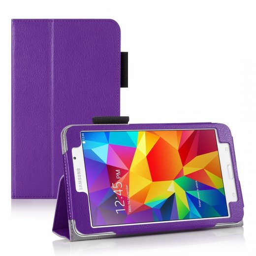 Multi-Function Leather Stand Case for Samsung Galaxy Tab 4 7.0 Purple