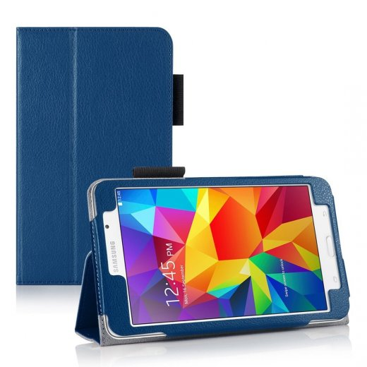 Multi-Function Leather Stand Case for Samsung Galaxy Tab 4 8.0 Blue