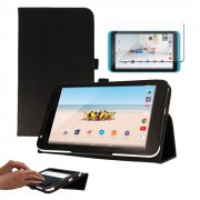 """Multi-Function Leather Stand Case for Tesco Hudl 2 8.3"""" Black"""