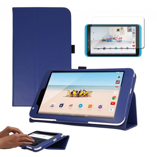 "Multi-Function Leather Stand Case for Tesco Hudl 2 8.3"" Blue"