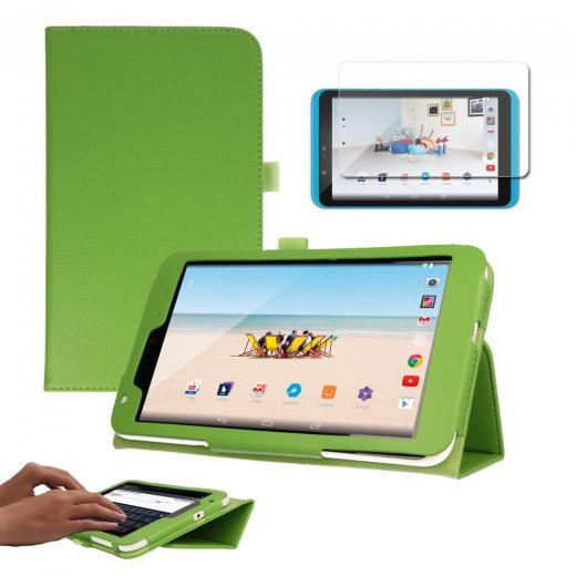 "Multi-Function Leather Stand Case for Tesco Hudl 2 8.3"" Green"