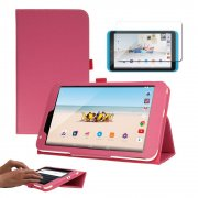 """Multi-Function Leather Stand Case for Tesco Hudl 2 8.3"""" Pink"""