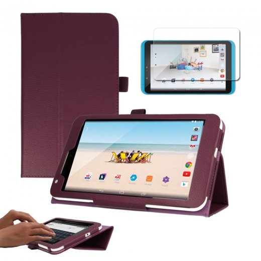"Multi-Function Leather Stand Case for Tesco Hudl 2 8.3"" Purple"