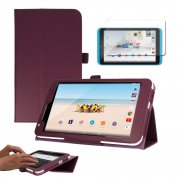 """Multi-Function Leather Stand Case for Tesco Hudl 2 8.3"""" Purple"""