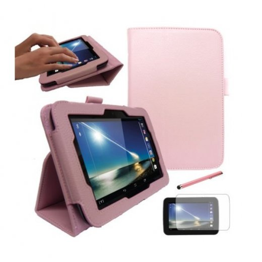 """Multi-Function Leather Stand Case for Tesco Hudl 2013 7.0"""" Baby Pink"""