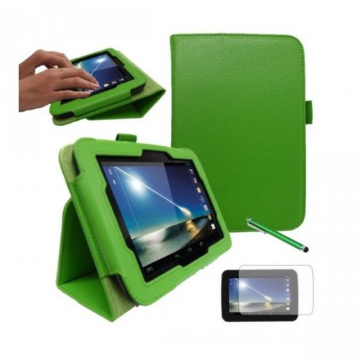 """Multi-Function Leather Stand Case for Tesco Hudl 2013 7.0"""" Green"""
