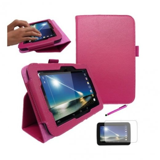 "Multi-Function Leather Stand Case for Tesco Hudl 2013 7.0"" Pink"