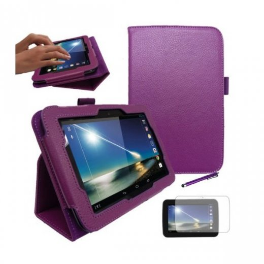 "Multi-Function Leather Stand Case for Tesco Hudl 2013 7.0"" Purple"