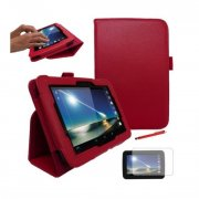 "Multi-Function Leather Stand Case for Tesco Hudl 2013 7.0"" Red"