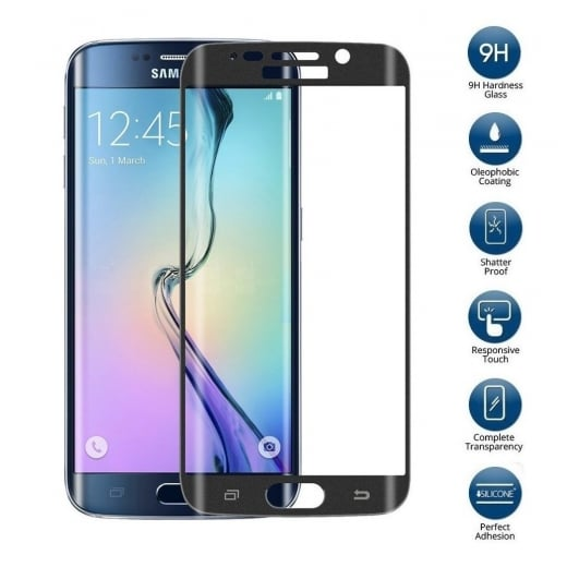 "Tempered Glass for Samsung Galaxy S6 Edge 5.1"" SM-G925 Black"