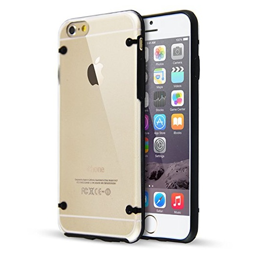 "Ultra Slim 0.8mm Clear Back with TPU Rim Case for Apple iPhone 6 4.7"" Black"