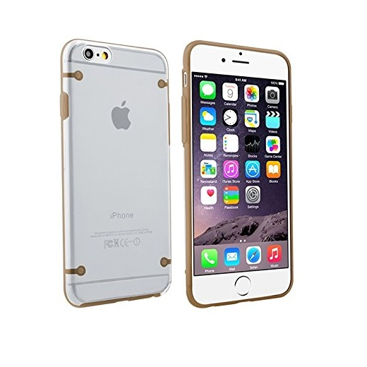 "Ultra Slim 0.8mm Clear Back with TPU Rim Case for Apple iPhone 6 4.7"" Gold"