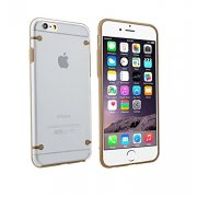 """Ultra Slim 0.8mm Clear Back with TPU Rim Case for Apple iPhone 6 4.7"""" Gold"""
