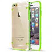 "Ultra Slim 0.8mm Clear Back with TPU Rim Case for Apple iPhone 6 4.7"" Green"