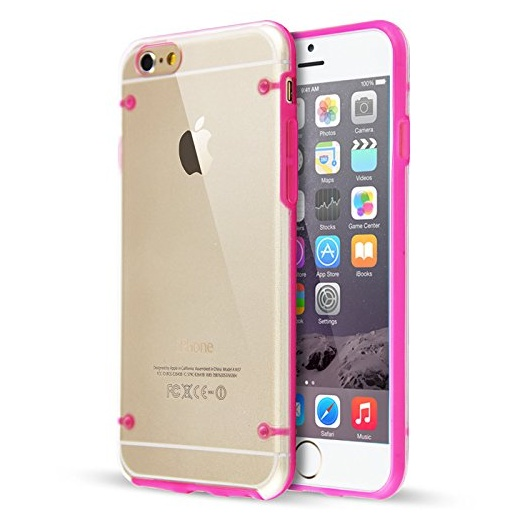 "Ultra Slim 0.8mm Clear Back with TPU Rim Case for Apple iPhone 6 4.7"" Pink"