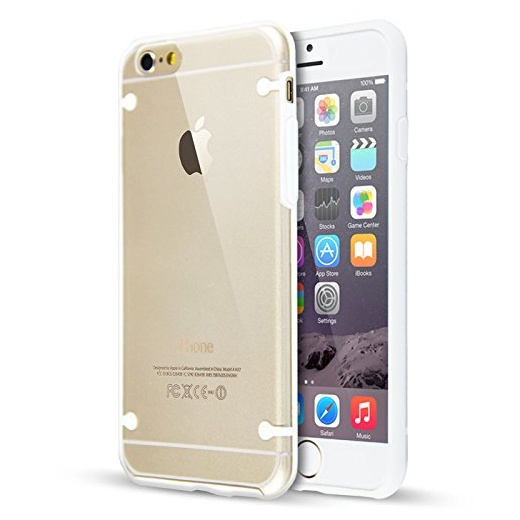 "Ultra Slim 0.8mm Clear Back with TPU Rim Case for Apple iPhone 6 4.7"" White"
